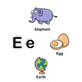 Alphabet Letter E-elephant,egg,earth Royalty Free Stock Image