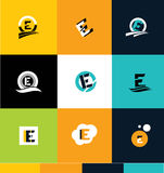 Alphabet letter e ico set logo Stock Photo
