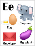 Alphabet letter E pictures Royalty Free Stock Photography
