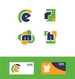 Alphabet letter e r m h logo icon set Stock Image