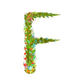 Alphabet letter F elegant flower blooming botanical sign Stock Image