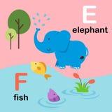 Alphabet Letter F-fish,E-elephant,illustration. Alphabet Letter F-fish,E-elephant,,vector illustration Royalty Free Stock Photography