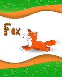 Alphabet letter F and fox. With a colored background Stock Image