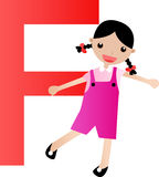Alphabet letter F(girl) Stock Images