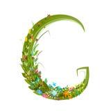 Alphabet letter G elegant flower blooming botanical sign Stock Images