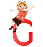 Alphabet letter G(girl) Royalty Free Stock Image
