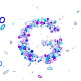 Alphabet letter G uppercase. Funny font made of blue balls. 3D render isolated on white background. Typographic symbol from geometric spheric figures Stock Photos