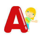Alphabet letter a (girl) Stock Photo