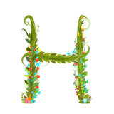 Alphabet letter H elegant flower blooming botanical sign Royalty Free Stock Image