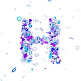 Alphabet letter H uppercase. Funny font made of blue balls. 3D render isolated on white background. Typographic symbol from geometric spheric figures Stock Photography