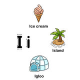 Alphabet Letter I-ice cream,island,igloo. Vector illustration Royalty Free Stock Photos