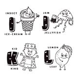Alphabet letter I J K L depicting an ice-cream, jellyfish, kid and lemon. Vector alphabet.  Royalty Free Stock Photography