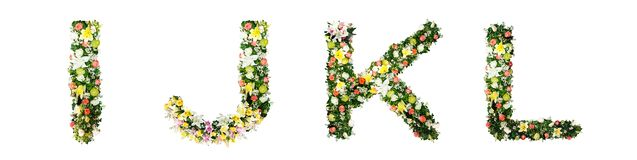 Alphabet letter I J K L made from colorful flowers isolated on w stock images
