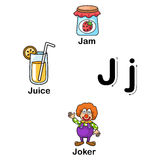 Alphabet Letter J-jam,juice,joker  illustration Stock Photo