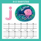 Alphabet Letter J-jellyfish exercise,paper cut concept. Vector illustration vector illustration
