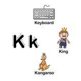 Alphabet Letter K-keyboard,king,kangaroo Stock Images