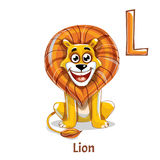 Alphabet letter L. Lion. Vector alphabet letter L for children education with funny cartoon lion. Isolated. Learn to read Royalty Free Stock Photo