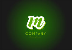 Alphabet letter logo green 3d company  icon design. Alphabet letter hand written hand writing green white logo 3d   creative company icon design template modern Stock Images