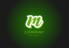 Alphabet letter logo green 3d company  icon design Stock Images
