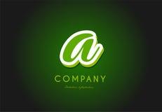 A alphabet letter logo green 3d company vector icon design. A alphabet letter hand written hand writing green white logo 3d vector creative company icon design stock illustration