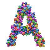 Alphabet letter A, from lottery balls. 3D rendering stock illustration
