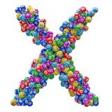 Alphabet letter X, from lottery balls. 3D rendering royalty free illustration