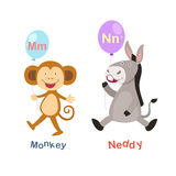 Alphabet Letter M-monkey,N-neddy Royalty Free Stock Photos