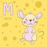 Alphabet letter M mouse children vector Royalty Free Stock Photo