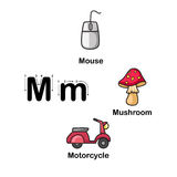 Alphabet Letter M-mouse,mushroom,motorcycle vector illustration Stock Photos