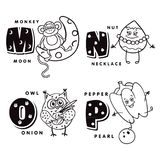 Alphabet letter M N O P depicting an monkey, nut, owl and pepper. Vector alphabet.  Stock Images
