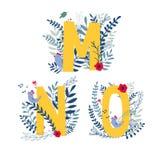 Floral alphabet, letter m, n, o set. Alphabet, letter m, n, o set in floral design with flowers and plants. Vector colorful ABC element vector illustration