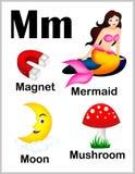 Alphabet letter M pictures vector illustration