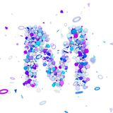 Alphabet letter M uppercase. Funny font made of blue balls. 3D render isolated on white background. Typographic symbol from geometric spheric figures Stock Photos