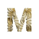 Alphabet letter M uppercase. Golden font made of shiny yellow metal. 3D render isolated on white background. Typographic symbol from elegant royal gold Stock Image