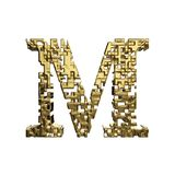 Alphabet letter M uppercase. Golden font made of yellow metallic shapes. 3D render isolated on white background. Typographic symbol from gold geometric figure Stock Photo