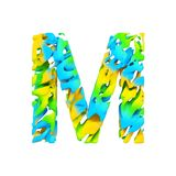 Alphabet letter M uppercase. Liquid font made of blue, green and yellow splash paint. 3D render isolated on white background. Typographic symbol from flowing Royalty Free Stock Photography