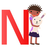 Alphabet letter N(girl) Royalty Free Stock Images