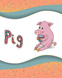 Alphabet letter P and pig. With a colored background Royalty Free Stock Image