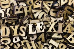 Learning disorder dyslexia special education. Alphabet letter pile dyslexia reading disorder difficulty definition education wood words learning educational Royalty Free Stock Photos