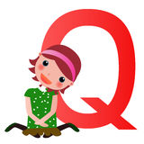 Alphabet letter Q(girl) Royalty Free Stock Photo