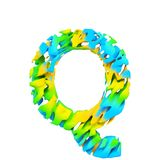 Alphabet letter Q uppercase. Liquid font made of blue, green and yellow splash paint. 3D render isolated on white background. Typographic symbol from flowing Stock Photography