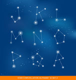 Alphabet letter set as star constellations Stock Images