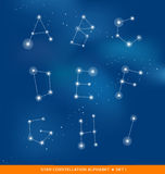 Alphabet letter set as star constellations Royalty Free Stock Image