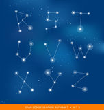 Alphabet letter set as star constellations Royalty Free Stock Photos