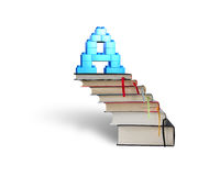 Alphabet letter A shape blocks on stack books stairs Royalty Free Stock Image