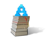 Alphabet letter A shape blocks on stack books stairs Royalty Free Stock Photo