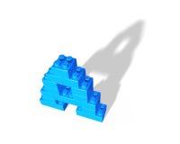 Alphabet letter A shape of stack blocks Stock Images