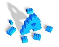 Alphabet letter A shape of stack blocks Stock Image