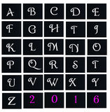 Alphabet letter spell in black board. Alphabet letter spell written in black board collage stock illustration