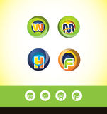 Alphabet letter sphere logo icon set Stock Photography